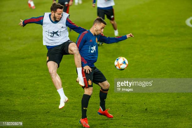 Saul Niguez of Spain and Rodrigo Moreno of Spain battle for the ball during the Spain training session at Mestalla Stadium on March 22 2019 in...