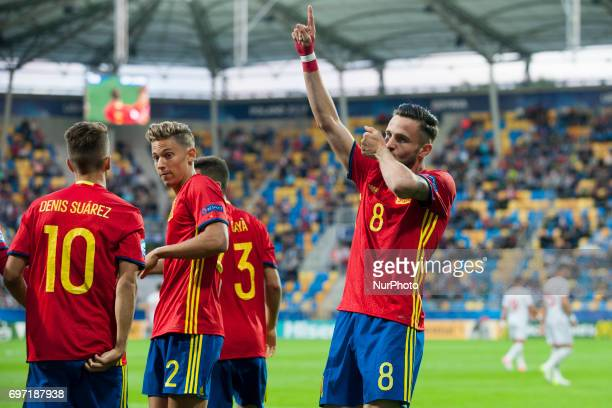 Saul Niguez of Spain celebrates after his goal during the UEFA Under 21 Championship Group B match between Spain and FYR Macedonia at Gdynia Stadium...