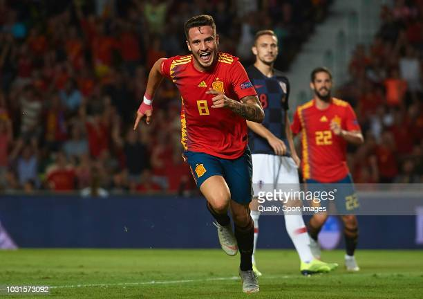 Saul Niguez of Spain celebrates after scoring his sides first goal during the UEFA Nations League A group four match between Spain and Croatia at...