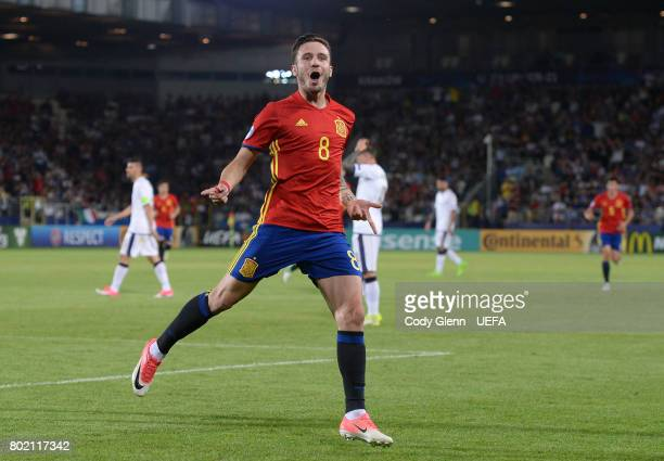 Saul Niguez of Spain celebrates after scoring his side's first goal during their UEFA European Under21 Championship 2017 semifinal match on June 27...