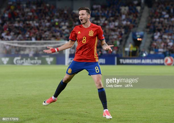 Saul Niguez of Spain celebrates after scoring his side's second goal during their UEFA European Under21 Championship 2017 semifinal match against...