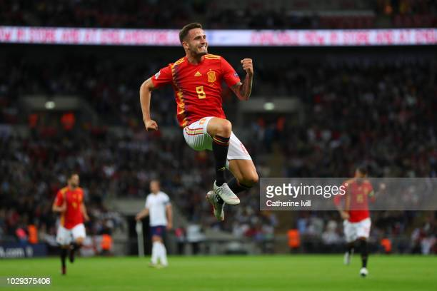 Saul Niguez of Spain celebrates after scoring his team's first goal during the UEFA Nations League A group four match between England and Spain at...