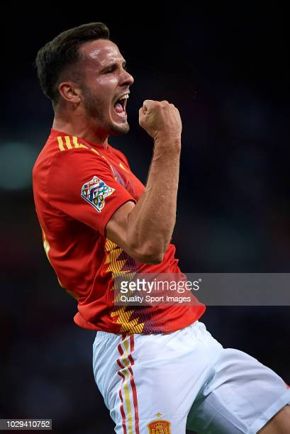 Saul Niguez of Spain celebrates after scoring the opening goal during the UEFA Nations League A group four match between England and Spain at Wembley...