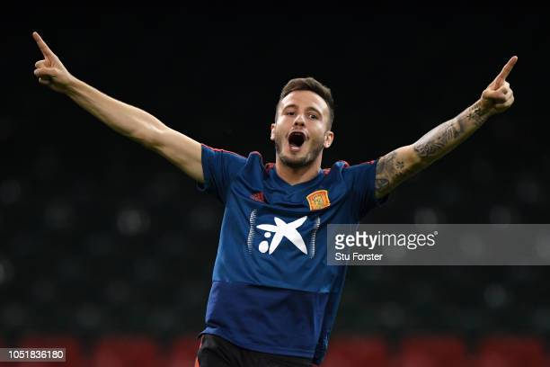 Saul Niguez of Spain celebrates during a Spain training session while the roof is closed at Principality Stadium on October 10 2018 in Cardiff Wales