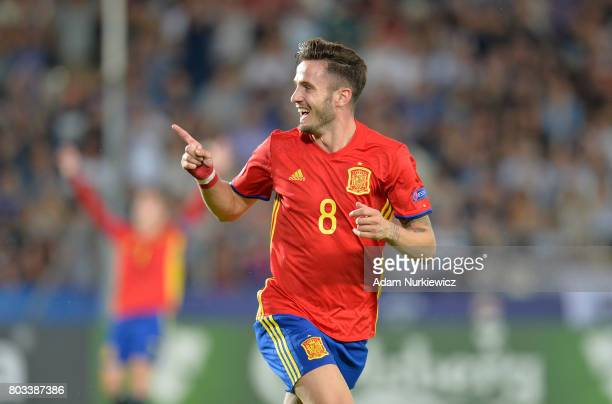 Saul Niguez of Spain celebrates scoring his hat trick goal during the UEFA European Under21 Championship Semi Final match between Spain and Italy at...
