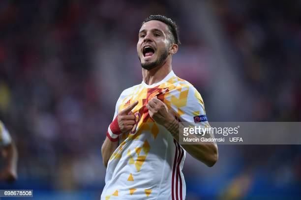 Saul Niguez of Spain celebrates scoring his side's first goal during their UEFA European Under21 Championship match against Portugal on June 20 2017...