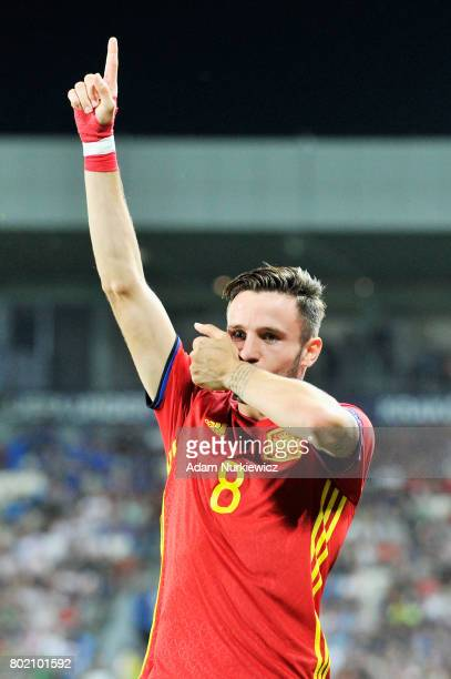 Saul Niguez of Spain celebrates scoring his sides first goal during the UEFA European Under21 Championship Semi Final match between Spain and Italy...