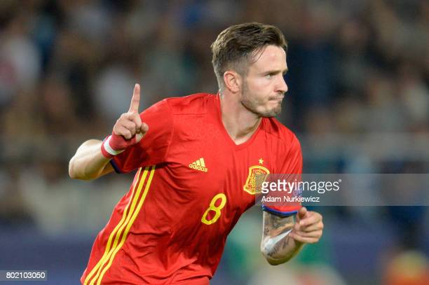 Saul Niguez of Spain celebrates scoring his sides second goal during the UEFA European Under21 Championship Semi Final match between Spain and Italy...