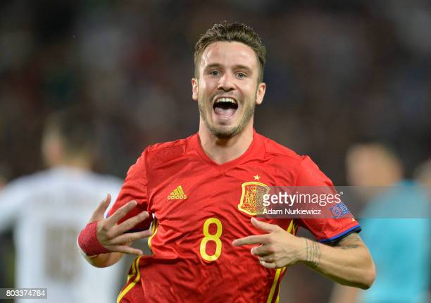 Saul Niguez of Spain celebrates scoring the opening goal during the UEFA European Under-21 Championship Semi Final match between Spain and Italy at...