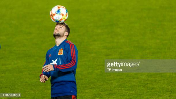 Saul Niguez of Spain controls the ball during the Spain training session at Mestalla Stadium on March 22 2019 in Valencia Spain