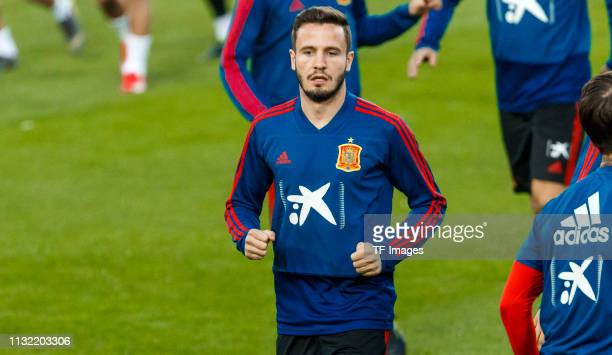 Saul Niguez of Spain looks on during the Spain training session at Mestalla Stadium on March 22 2019 in Valencia Spain