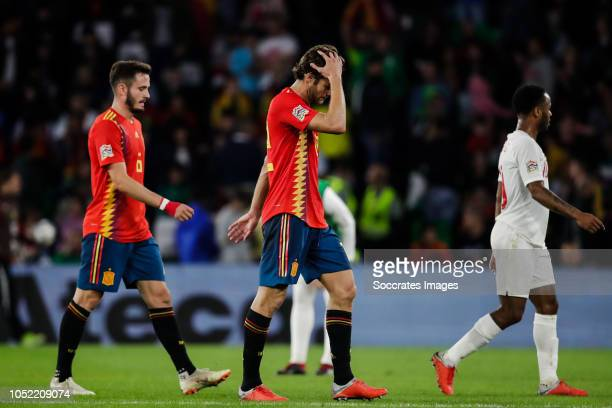 Saul Niguez of Spain Marcos Alonso of Spain during the UEFA Nations league match between Spain v England at the Estadio Benito Villamarin on October...