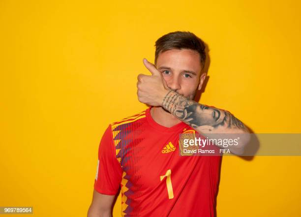 Saul Niguez of Spain poses during the official FIFA World Cup 2018 portrait session at FC Krasnodar Academy on June 8 2018 in Krasnodar Russia
