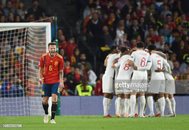 Saul Niguez of Spain reacts after England scored their 3rd goal during the UEFA Nations League A group four match between Spain and England at...