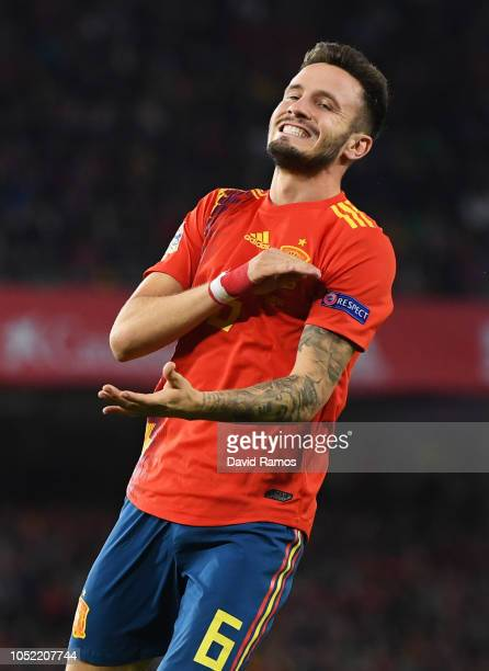 Saul Niguez of Spain reacts during the UEFA Nations League A Group Four match between Spain and England at Estadio Benito Villamarin on October 15...