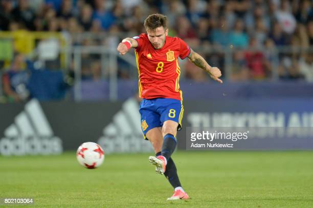 Saul Niguez of Spain scores his sides second goal during the UEFA European Under21 Championship Semi Final match between Spain and Italy at Krakow...