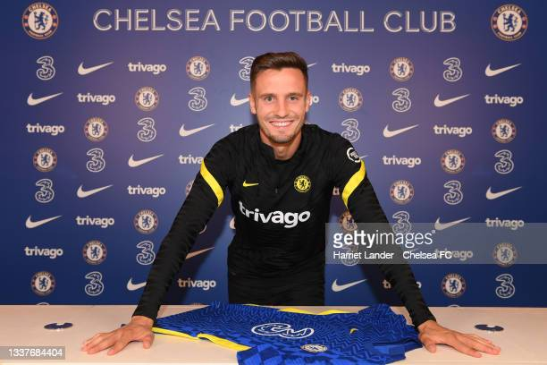 Saul Niguez poses for a photograph as he signs for Chelsea FC at Chelsea Training Ground on September 01, 2021 in Cobham, England.