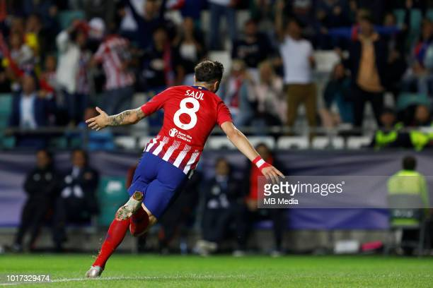 Saul of Atletico Madrid celebrates his goal during the UEFA Super Cup match between Real Madrid and Atletico Madrid at Lillekula Stadium on August 15...