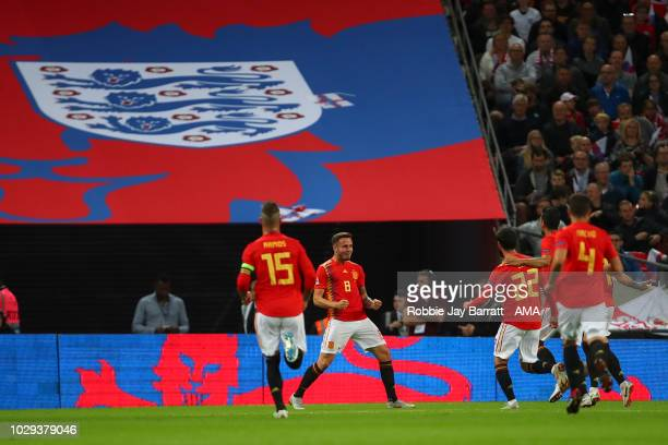 Saul of Spain celebrates after scoring a goal to make it 11 during the UEFA Nations League A group four match between England and Spain at Wembley...