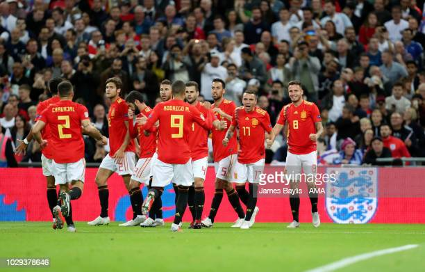 Saul of Spain celebrates with his team mates after scoring a goal to make it 11 during the UEFA Nations League A group four match between England and...