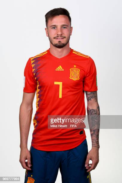 Saul of Spain poses for a portrait during the official FIFA World Cup 2018 portrait session at FC Krasnodar Academy on June 8 2018 in Krasnodar Russia