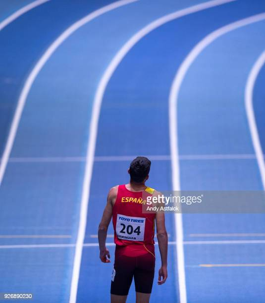 Saul Ordonez from Spain contemplates his third place finish during the 800m Final on Day 3 of the IAAF World Indoor Championships at Arena Birmingham...