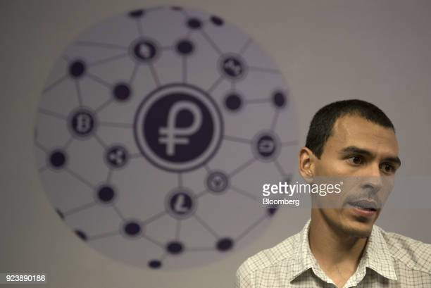 Saul Osio member of the United Socialist Party of Venezuela and cryptocurrencies specialist speaks inside the cryptocurrency mining farm and school...