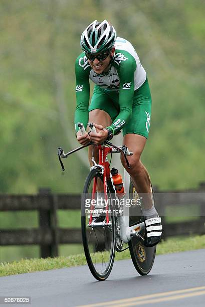 Saul Raisin of the U.S. And riding for Credit Agricole rides the Individual Time Trial during stage three of the Tour de Georgia April 21, 2005 in...