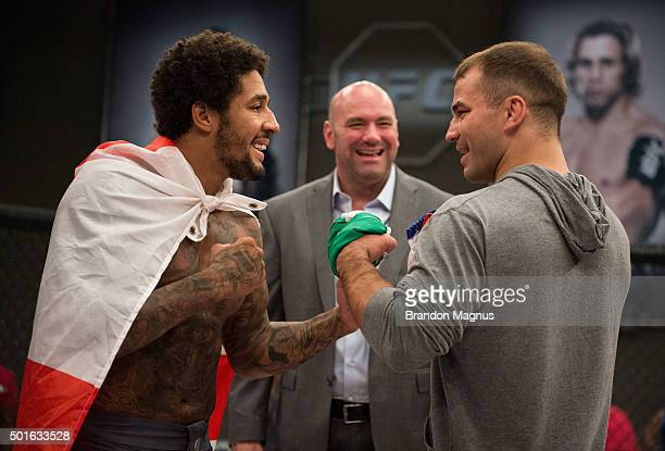 Saul Rogers and Artem Lobov face off for the TUF 22 Finals during the filming of The Ultimate Fighter Team McGregor vs Team Faber at the UFC TUF Gym...