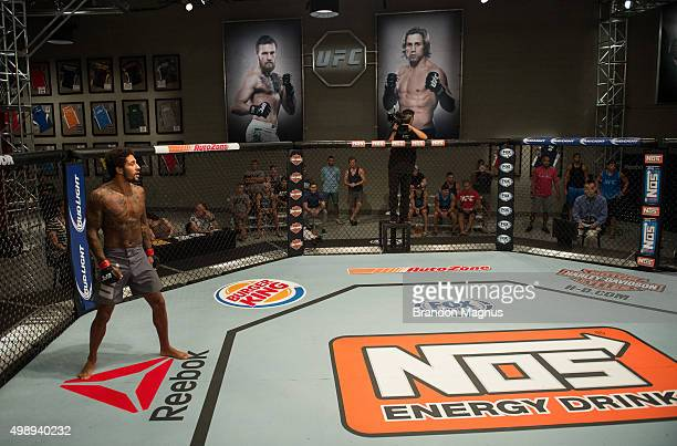 Saul Rogers prepares for the round to begin while facing Ryan Hall during the filming of The Ultimate Fighter: Team McGregor vs Team Faber at the UFC...