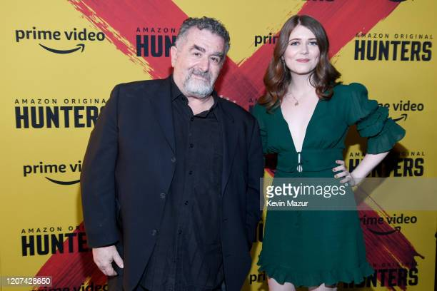 "Saul Rubinek and Hannah Reid Rubinek attend the World Premiere Of Amazon Original ""Hunters"" at DGA Theater on February 19, 2020 in Los Angeles,..."