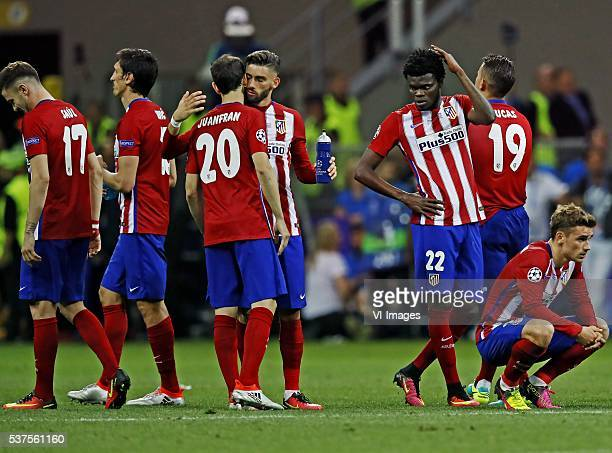 Saul Stefan Savic Juanfran Yannick Carrasco Thomas Party Lucas Hernandez Antoine griezmann after the misses penalty of Juanfran during the UEFA...