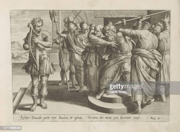 Saul tries to kill David History of David and Saul Historia Davidis and Saulis Thesaurus sacrarum historiaru [m] veteris testame [n] ti, elega [n]...