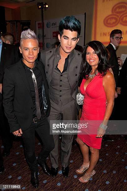 Sauli Koskinen Adam Lambert and Leila Lambert attend the Los Angeles Equality Awards on August 13 2011 in Los Angeles California
