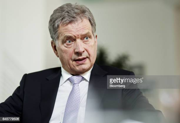 Sauli Niinisto Finland's president speaks during an interview in Helsinki Finland on Friday Feb 24 2017 The 68yearold is head of state of the nation...