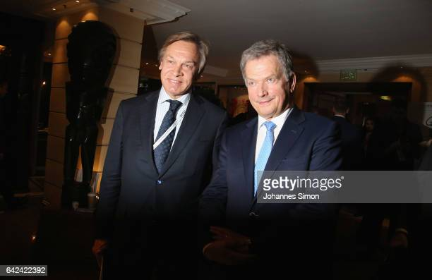 Sauli Niinisto president of Finland and Aleksey Pushkov member of the Russian parliament attend the 2017 Munich Security Conference on February 17...