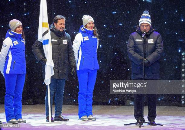 Sauli Niinisto the President of Finland speaks to the crowd during the Opening Ceremony of the FIS Nordic World Ski Championships at Medal Plaza on...