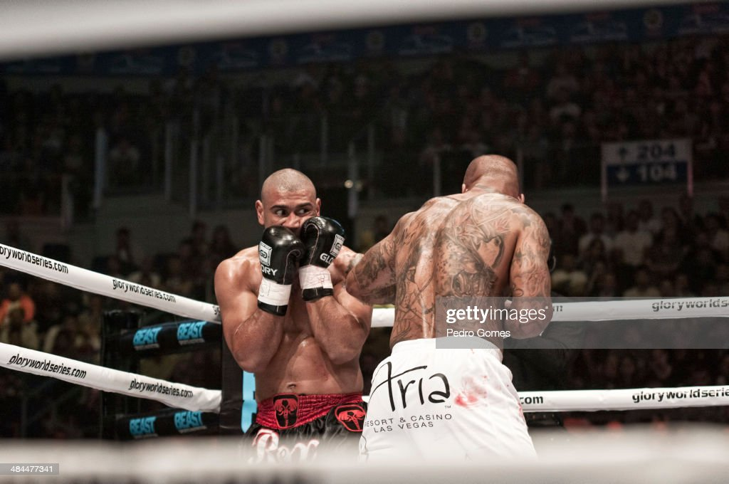 Saulo Cavalari fights Tyrone Spong in the semi final of the Light Heavyweight World title on April 12, 2014 in Istanbul, Turkey.