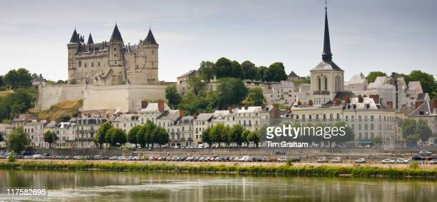 Saumur Chateau and the River Loire in the Loire Valley France