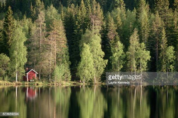 sauna house at edge of forested lake - jyväskylä stock pictures, royalty-free photos & images