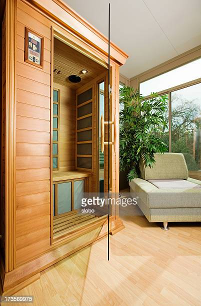 sauna in a sunroom - infrared lamp stock photos and pictures