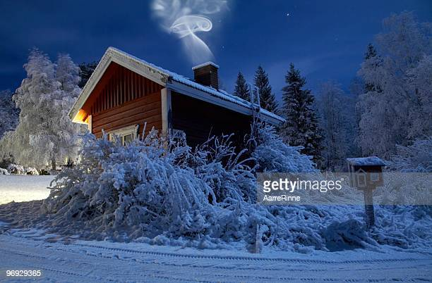 Sauna in winter moonlight