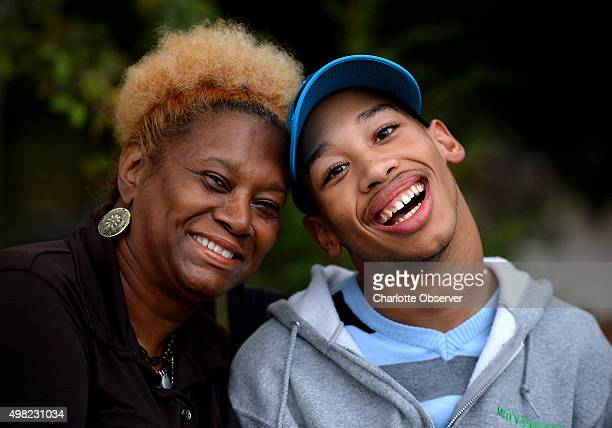 Saundra Adams left and Chancellor Lee Adams on November 4 in Weddington NC on November 4 2014 Chancellor is the son of former Carolina Panthers wide...