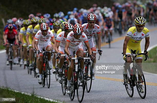Saunier Duval Prodir and Jittery Joe's drive the peloton to try and bring back the escape for their team leaders during Stage Five of the Tour de...