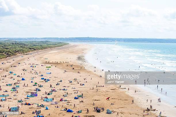 saunton sands beach, devon. - sand stock pictures, royalty-free photos & images