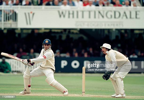 Saurav Ganguly batting for India during the 2nd Test match between England and India at Lord's cricket ground London on 20th June 1996 The match...