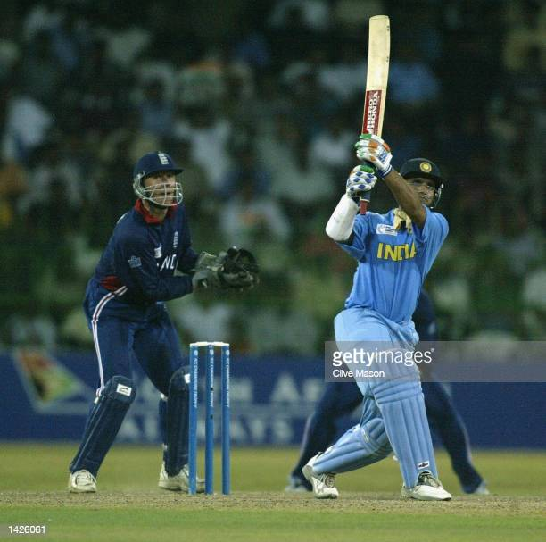 Saurav Ganguly of India in action watched by Alec Stewart of England during the ICC Champions Trophy match between England and India at the Premadasa...