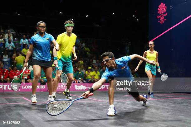 Saurav Ghosal of India competes during the Mixed Doubles Gold Medal Match between Dipika Pallikal Karthik and Saurav Ghosal of India and Donna...