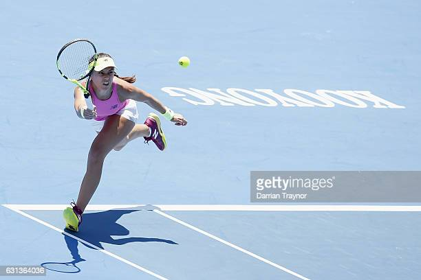 Saurian Cirstea of Romania plays a forehand shot in her match against Destanee Aiava of Australia during day one of the 2017 Priceline Pharmacy...