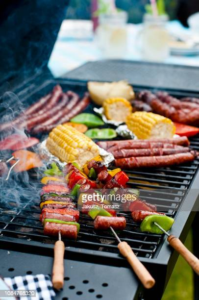sausage kebabs, sausages and vegetables on a barbecue - vegetable kebab stock pictures, royalty-free photos & images